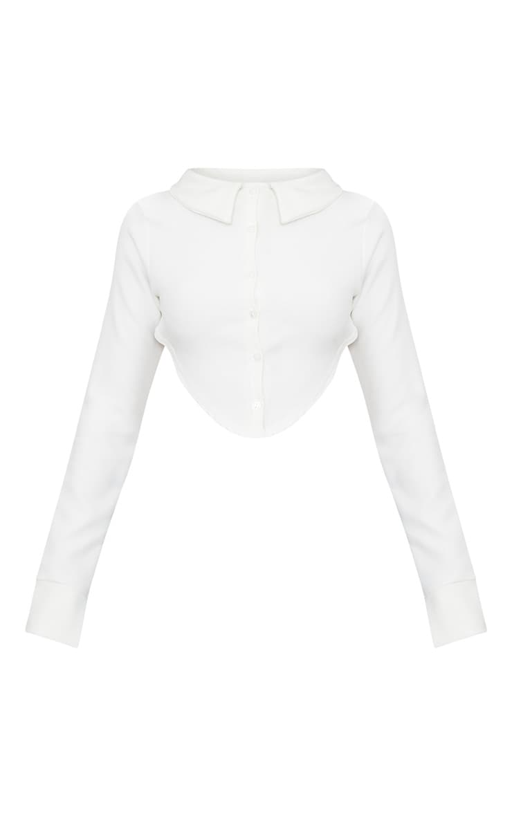 Cream Button Front Open Back Long Sleeve Crop Shirt 3