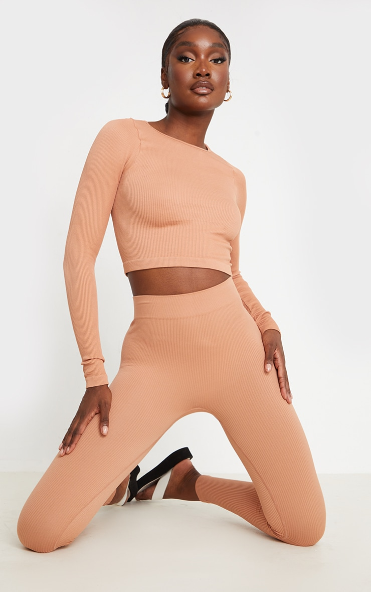 Tall Taupe Structured Contour Ribbed Round Neck Long Sleeve Crop Top 3