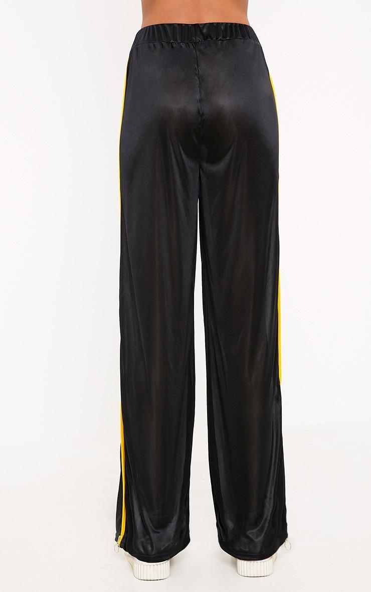 Karlotta Black Sheer Zip Wide Leg Track Pants 4