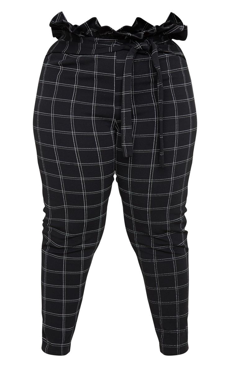 PLT Plus - Pantalon style paperbag skinny en tweed noir à carreaux 4