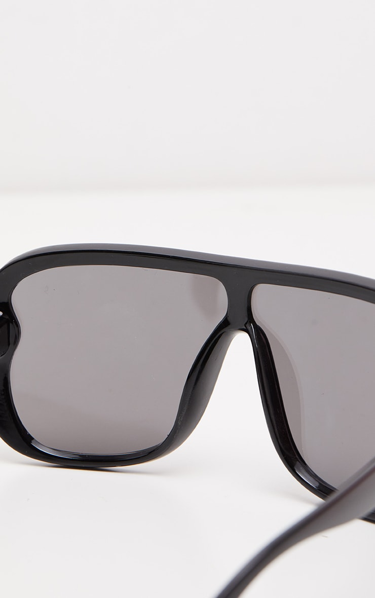Silver Flat Top Matte Resin Frameless Sunglasses 3