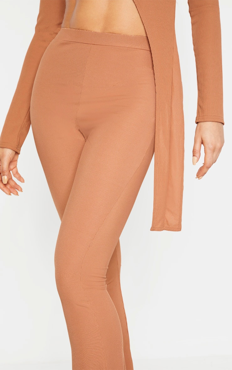Tall Camel Ribbed Flared Pants 4