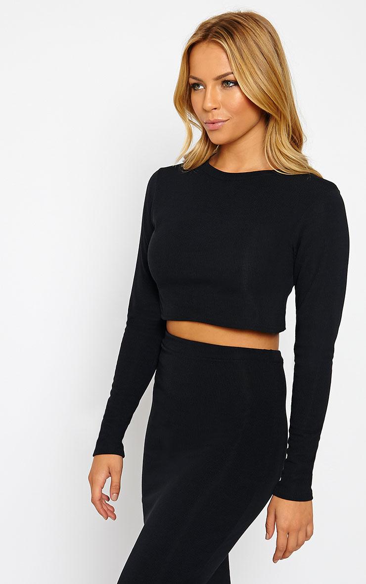 Basic Black Long Sleeve Premium Ribbed Crop Top 3