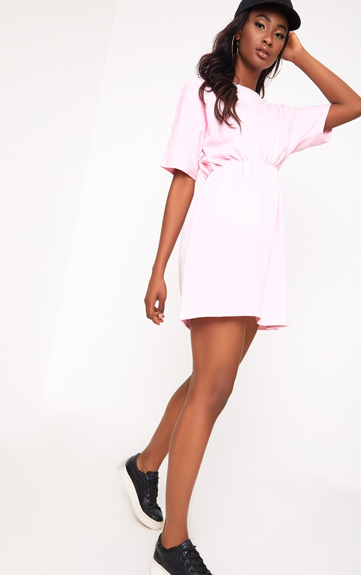 Baby Pink Waist Detail Sweater Dress  4