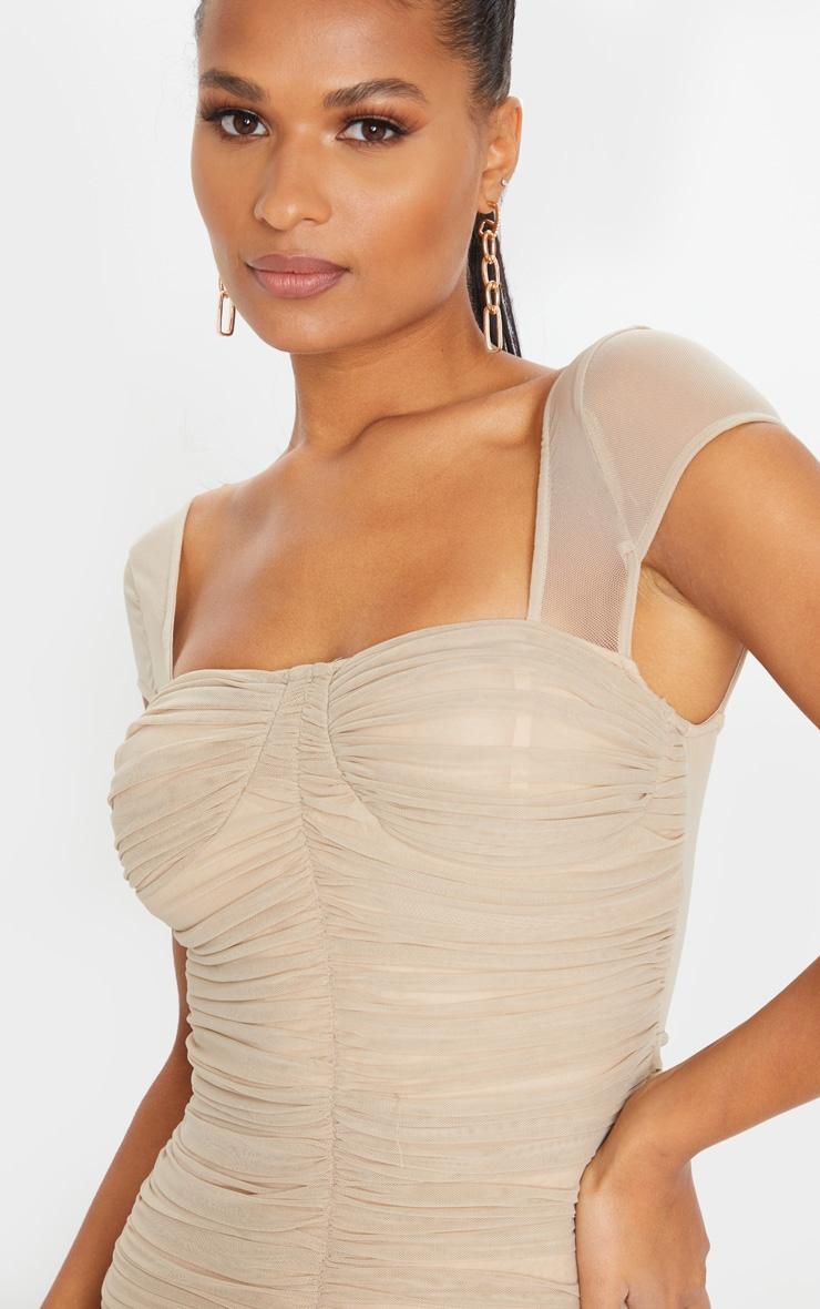 Stone Mesh Ruched Midi Dress 4