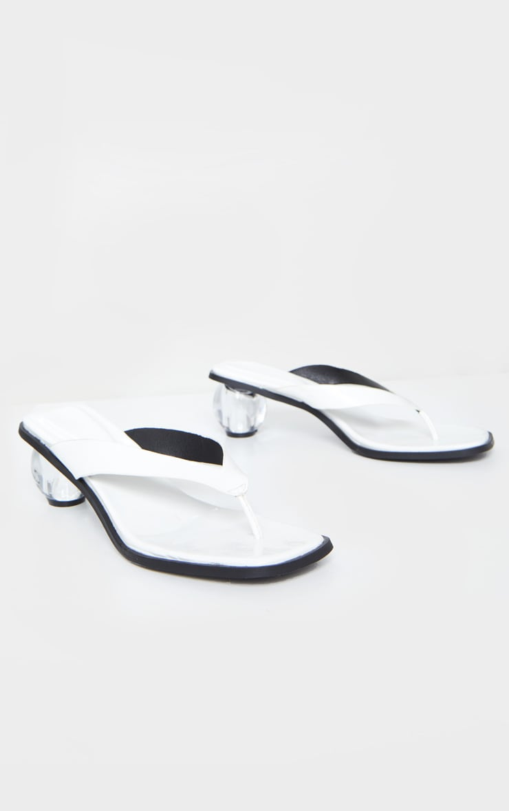 White Bubble Heel Toe Thong Heeled Mules 4