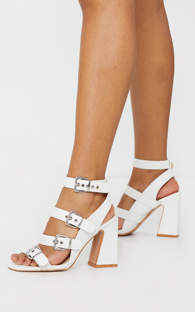 White Block Heel Multi Buckle Sandals 2