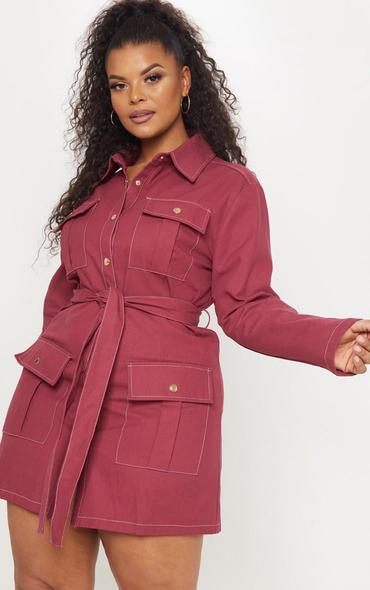 Plus Burgundy Tie Waist Denim Shirt Dress 1