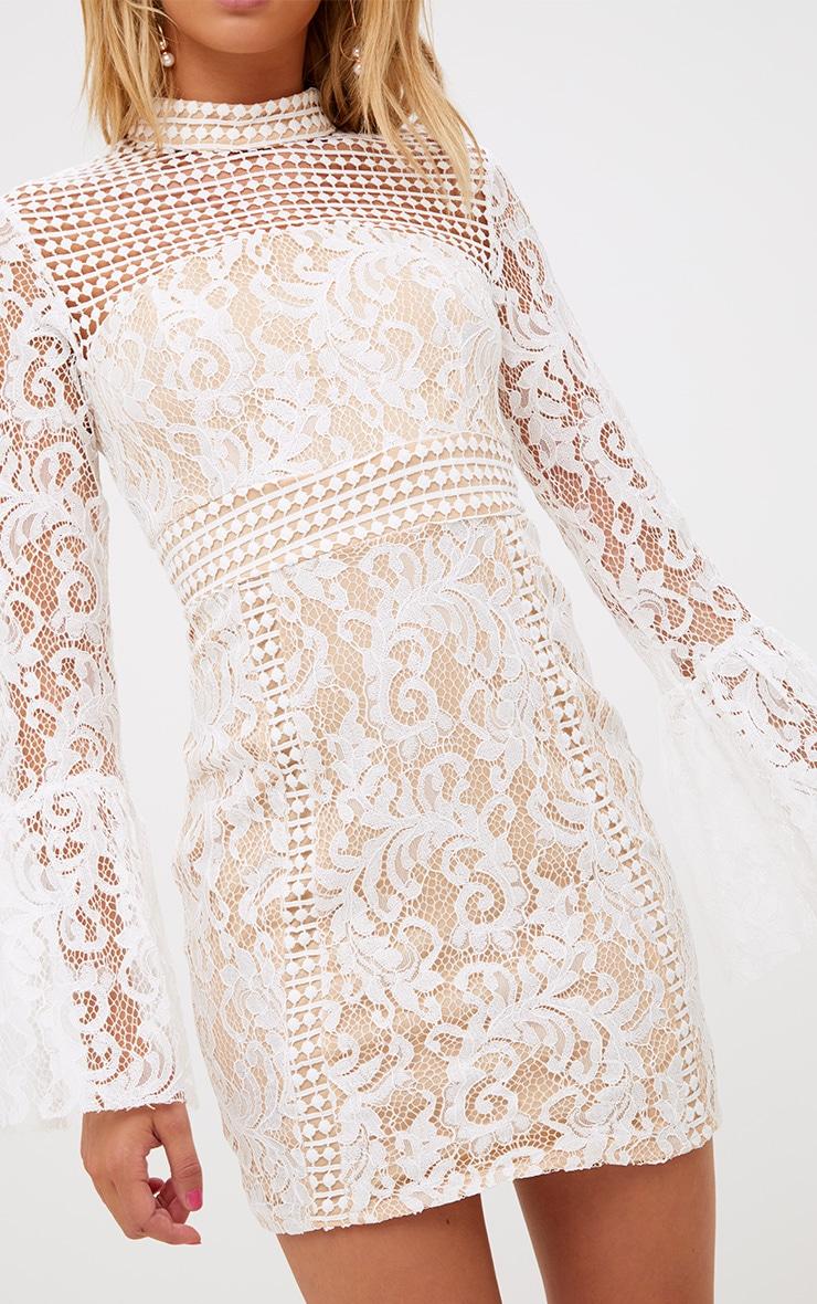 White Crochet Lace Flared Cuff  Bodycon Dress 5