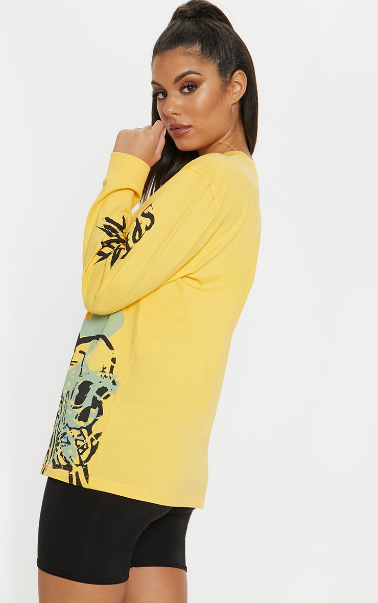 Yellow Skull Print Oversized Long Sleeve T Shirt 2