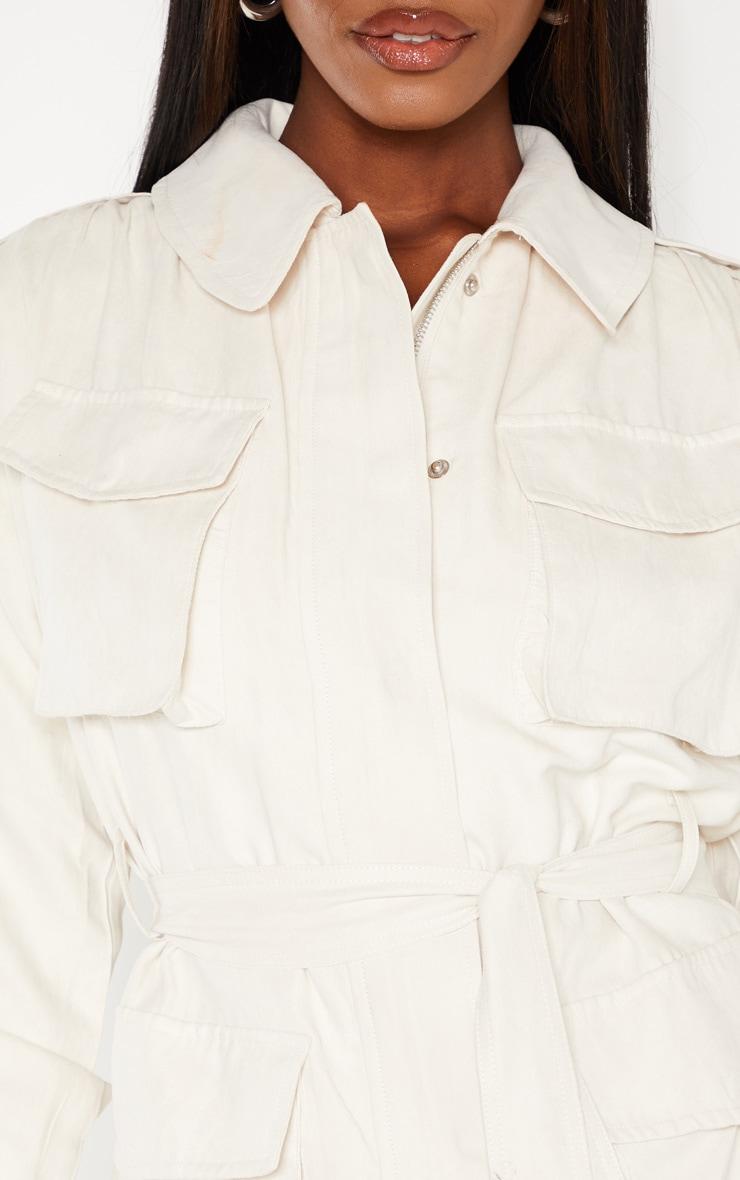 Cream Faux Suede Pocket Detail Jacket  5