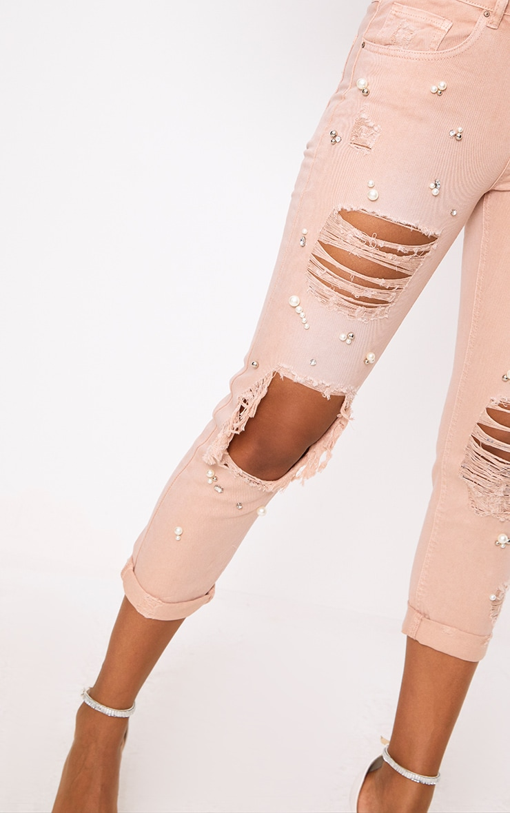 Pink Embellished Mom Jean 5