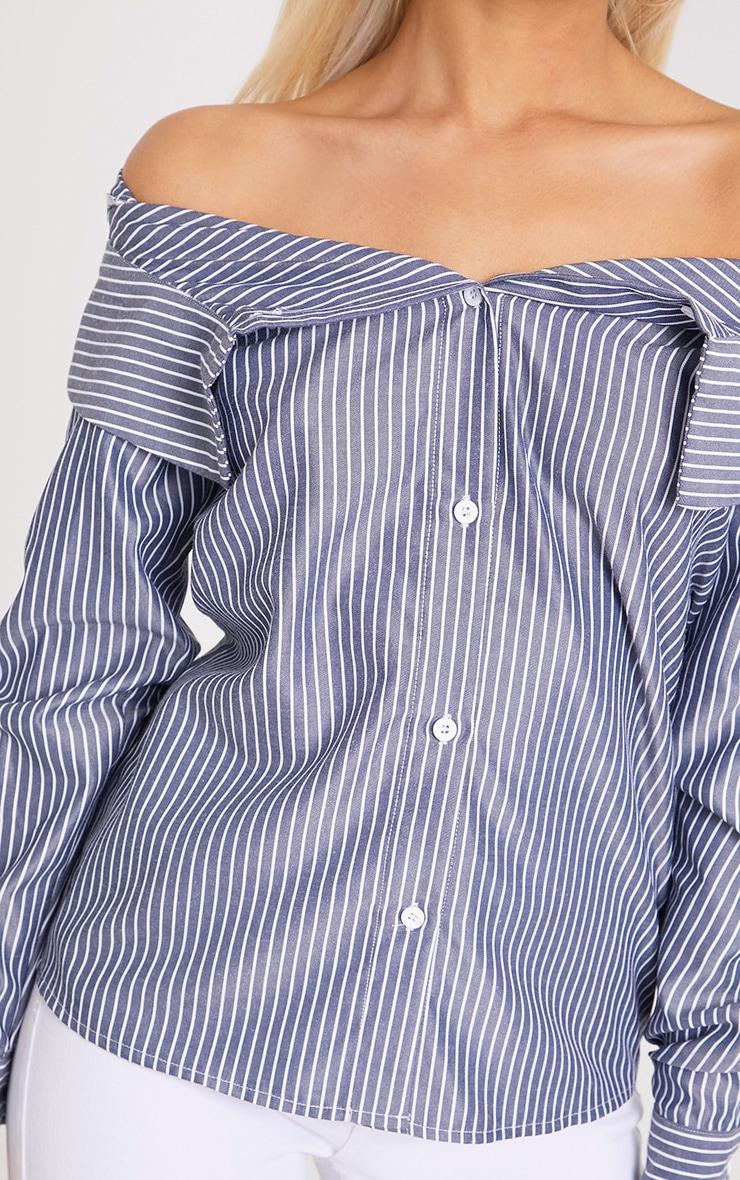 Abagel Blue Stripe Bardot Shirt 4