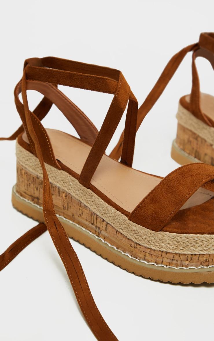 Tan Niella Espadrille Flatform Sandals 3