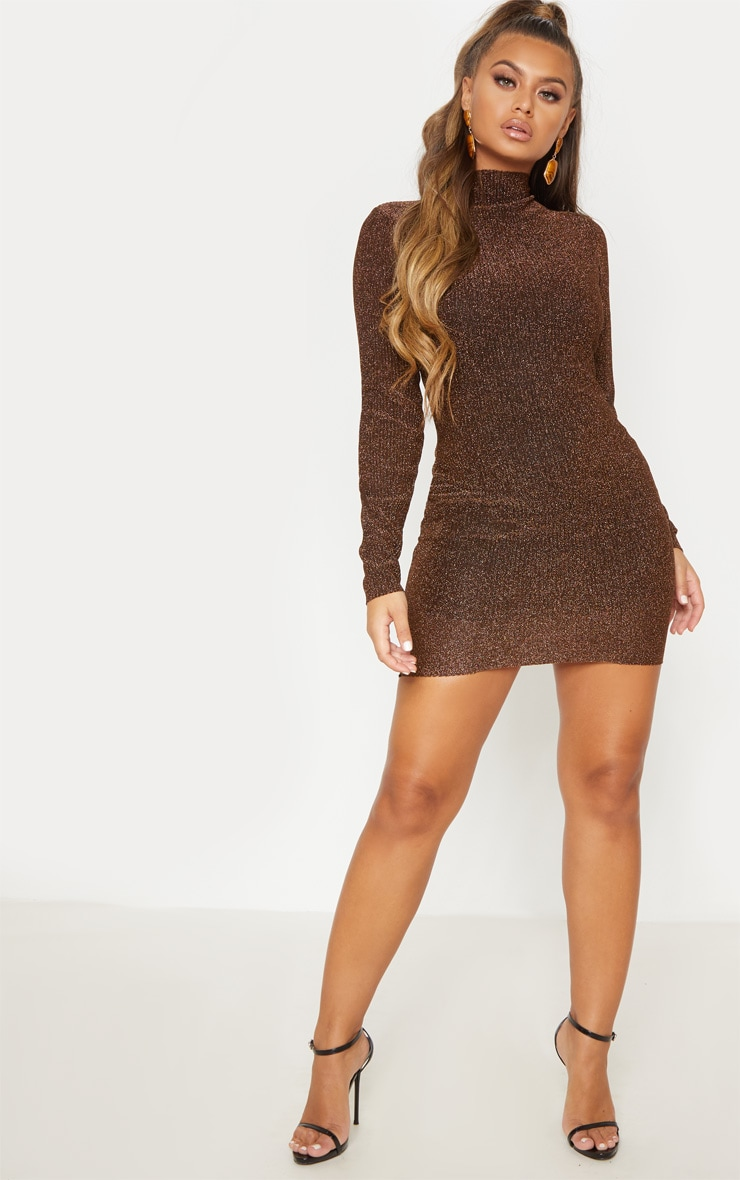 Bronze Textured Glitter High Neck Long Sleeve Bodycon Dress 5