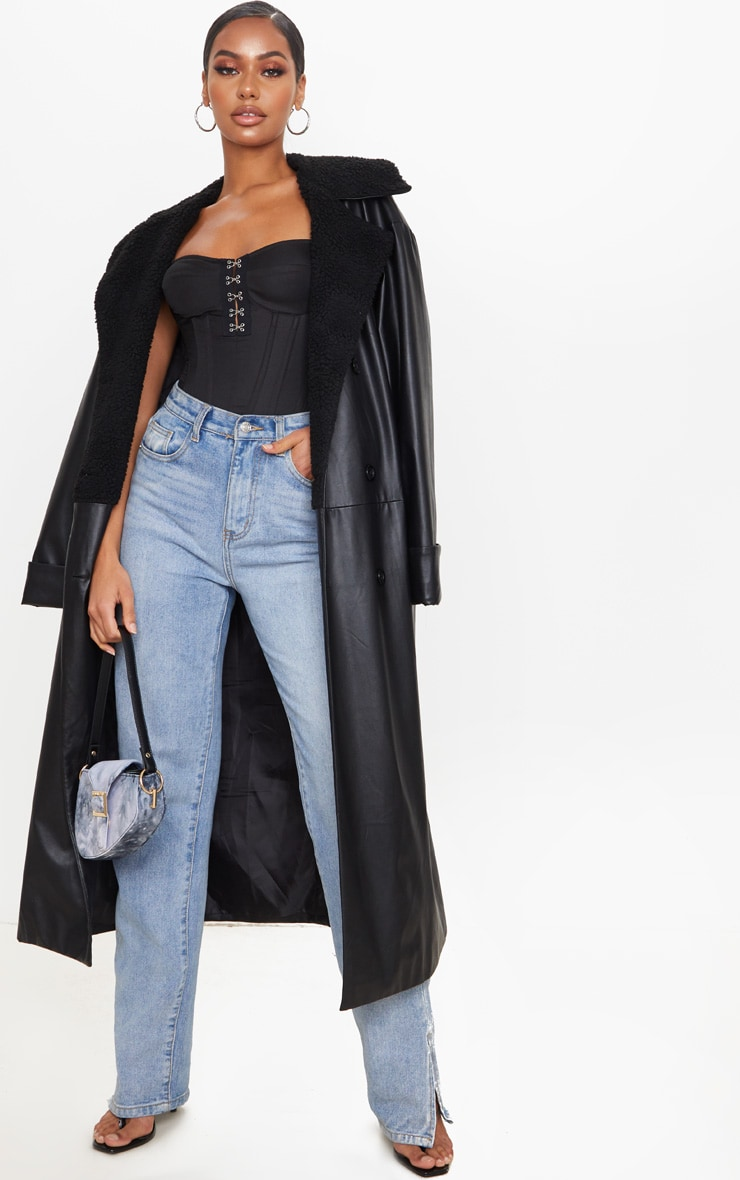 Black Woven Hook And Eye Structured Corset Long Top 3