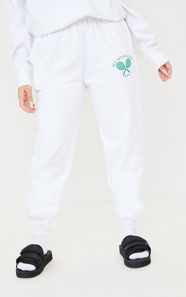 PRETTYLITTLETHING Petite White Tennis Club Oversized Joggers 2