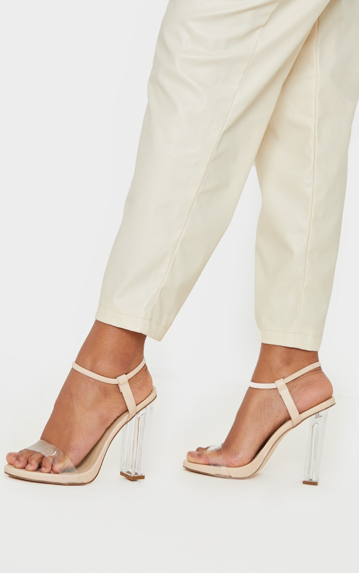 Nude Wide Fit Clear Block Heel Strappy Sandal 2