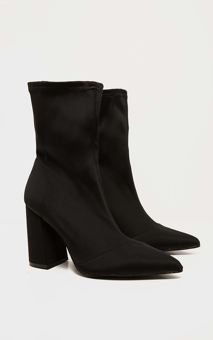 Black Block Heeled Point Toe Sock Boot 3