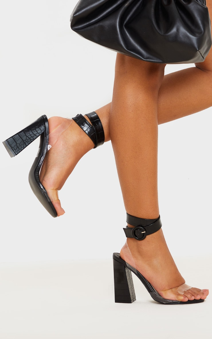 Black Croc Twist Ankle Strap Block Heel Sandals 1