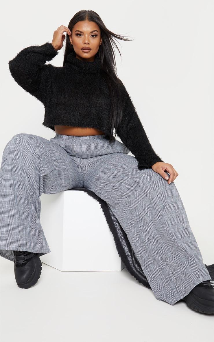 Plus Black Fluffy Knit Roll Neck Crop Sweater  4