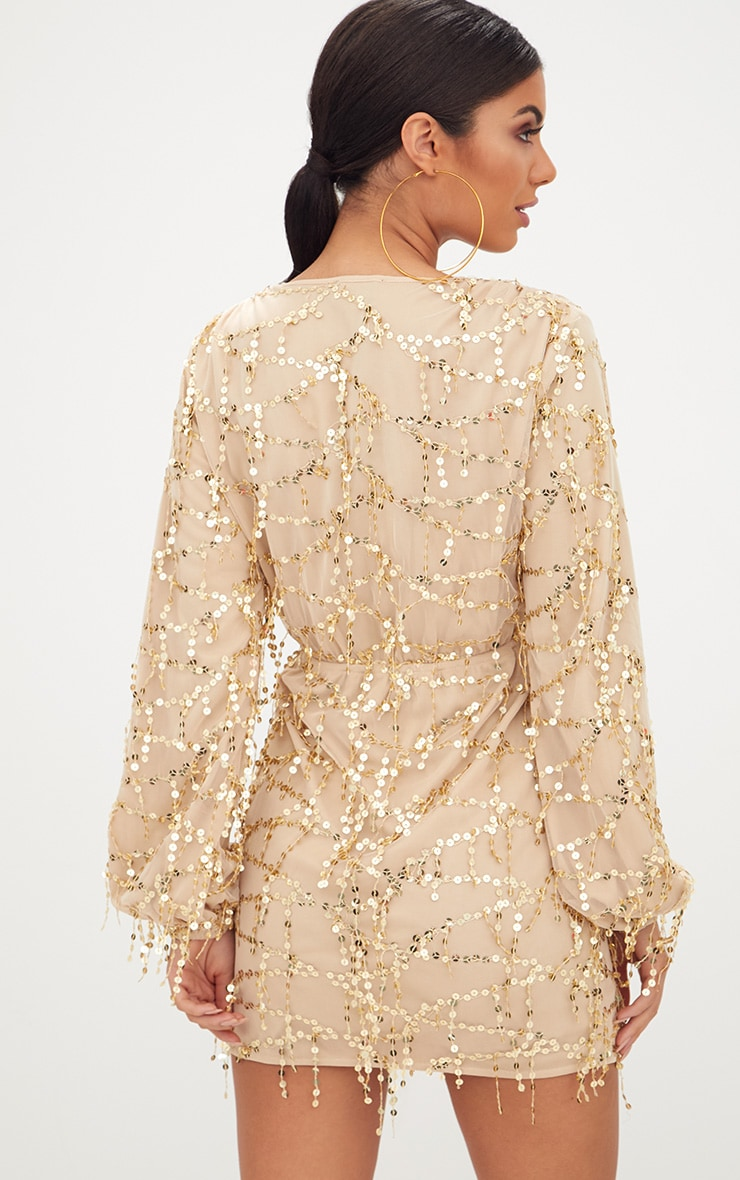 Gold Plunge Sequin Long Sleeve Bodycon Dress 2