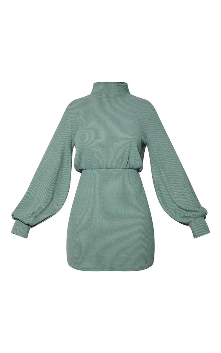 Washed Green Brushed Rib High Neck Balloon Sleeve Bodycon Dress 5