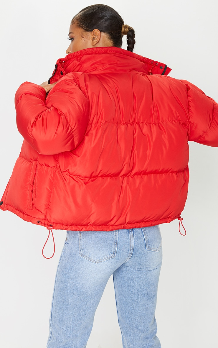 Red Toggle Detail Puffer Jacket 2