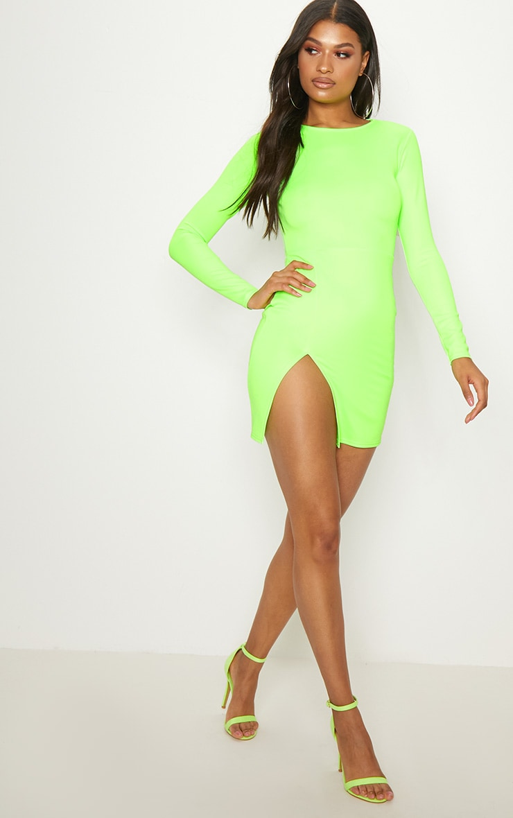 Neon Green Long Sleeve Split Leg Bodycon Dress 3