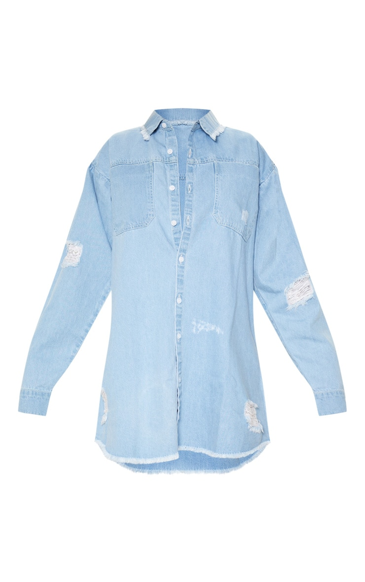 Light Blue Wash Distressed Denim Shirt Dress 3