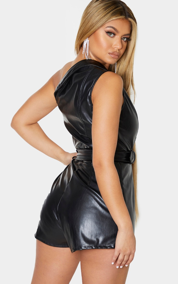 Black Faux Leather Asymmetric Belted Playsuit 2