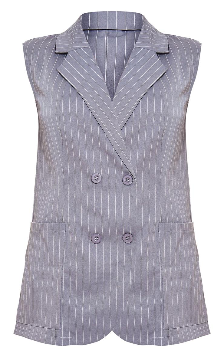 Pinstripe Charcoal Grey Structured Shoulder Pad Sleeveless Blazer 5