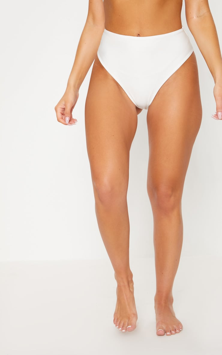 White Bride High Waisted High Leg Bikini Bottom 2