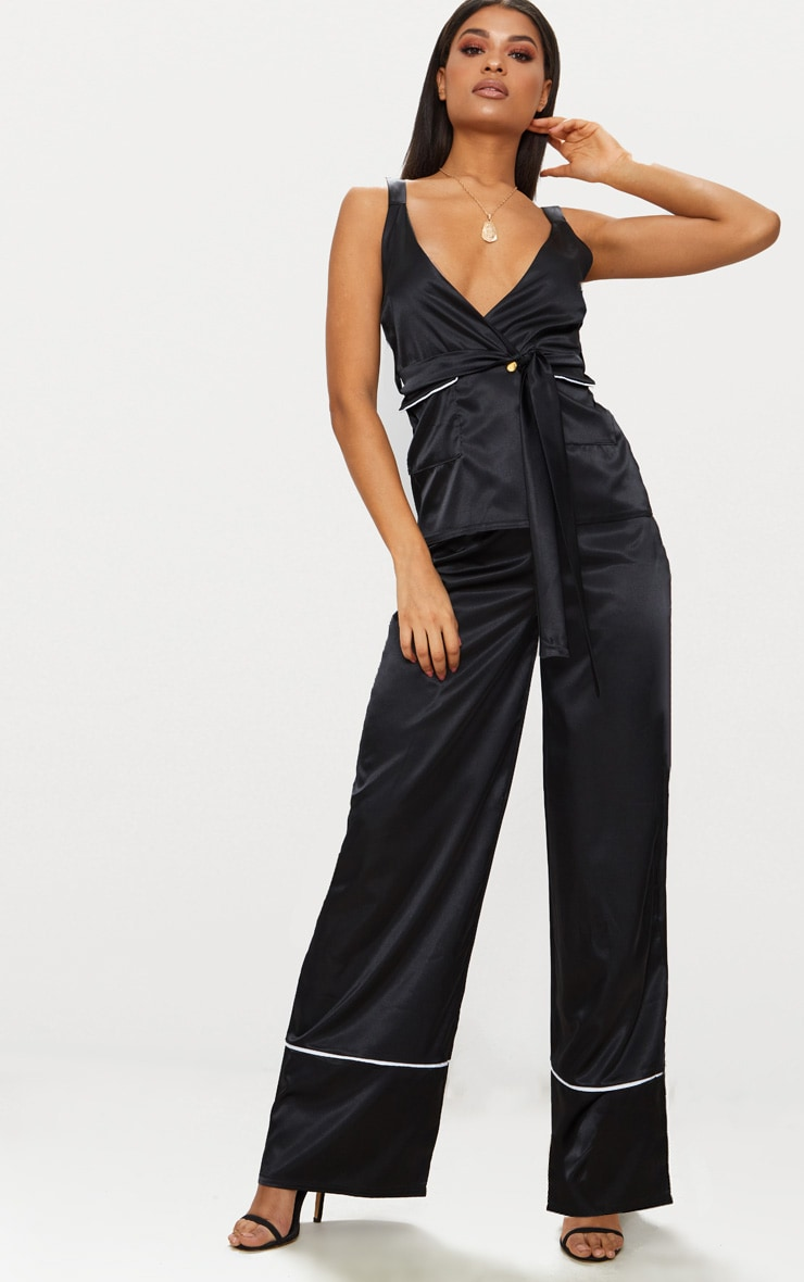 Black Satin Contrast Trim Wide Leg Trousers 1