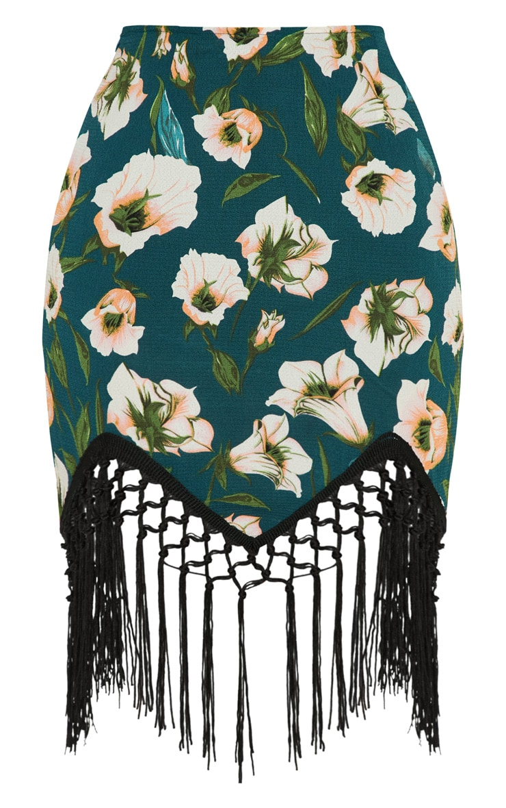 Emerald Floral Tassel Hem Mini Skirt 3