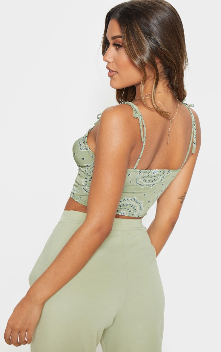 Sage Green Floral Printed Cup Tie Detail Sleeveless Crop Top 2