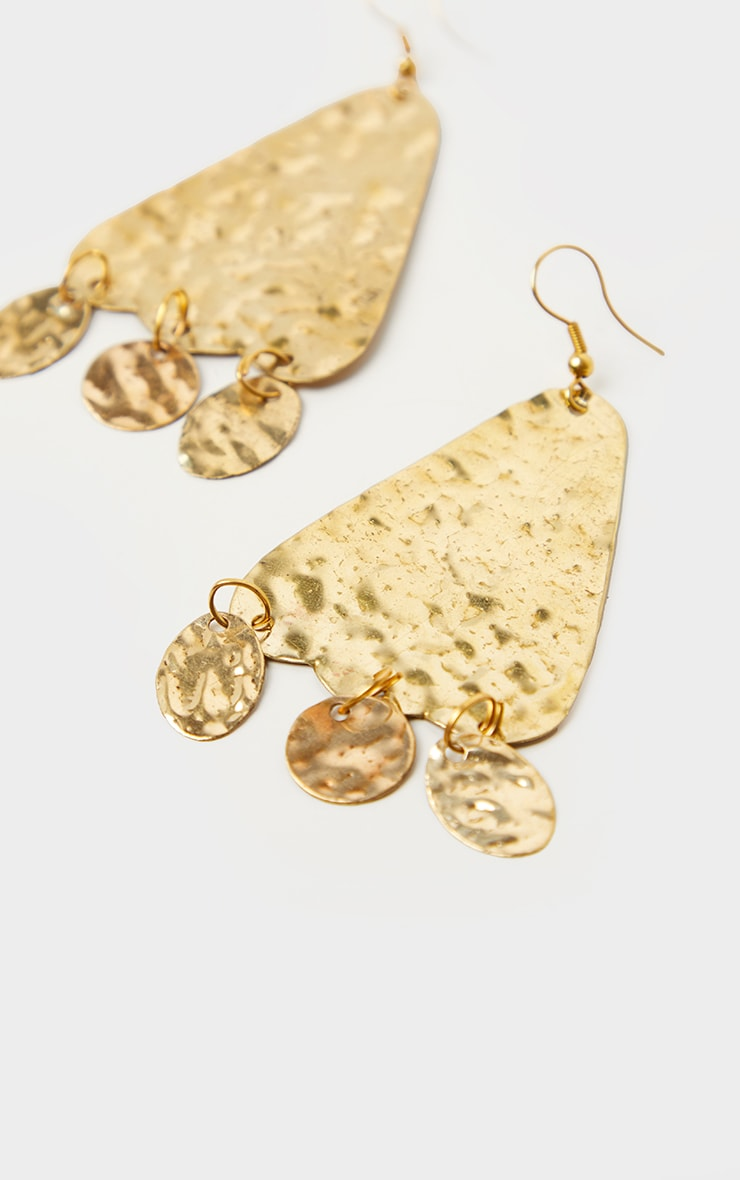 Gold Textured Triangle Cicular Drop Statement Earrings 2