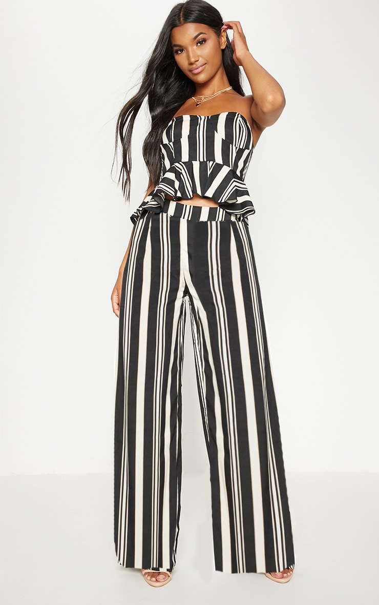 Black Stripe Woven Wide Leg Trouser