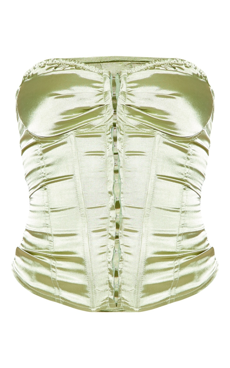 Mint Green Satin Cup Detail Corset 3