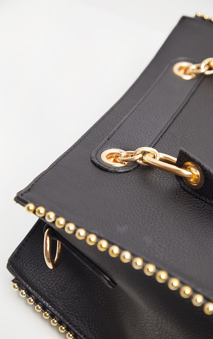 Black PU Bobble Chain Detail Tote Bag 4