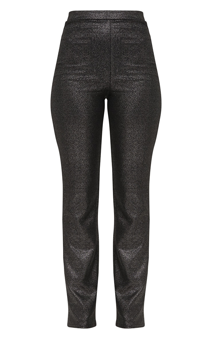 Metalic Silver Straight Leg Suit Trousers 3