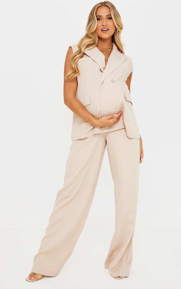 Maternity Cream Belly Band Suit Trousers 1
