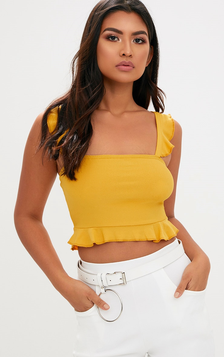 Mustard Frill Sleeveless Crop Top  1