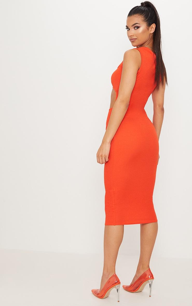 Bright Orange Square Neck Cut Out Midi Dress 2