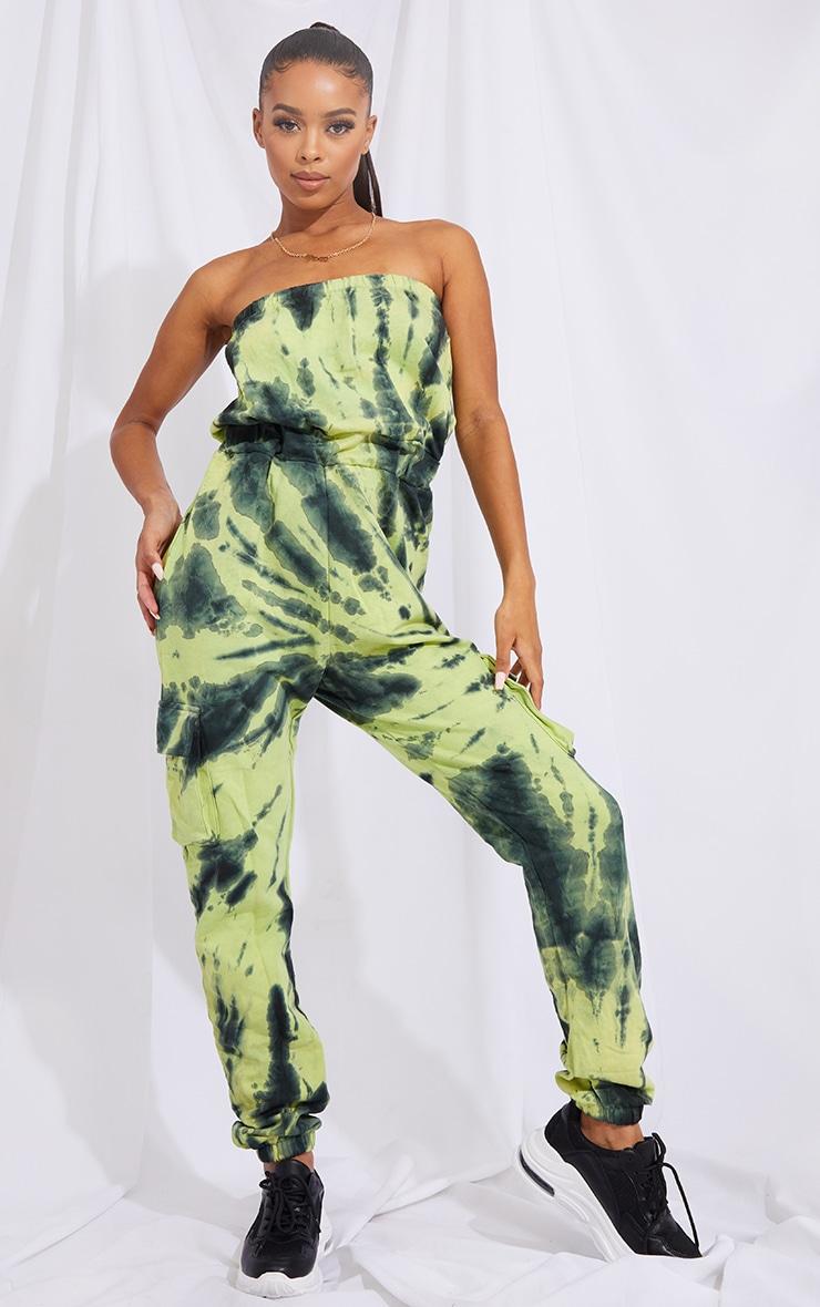 Green Tie Dye Bandeau Pocket Detail Sweat Jumpsuit 1