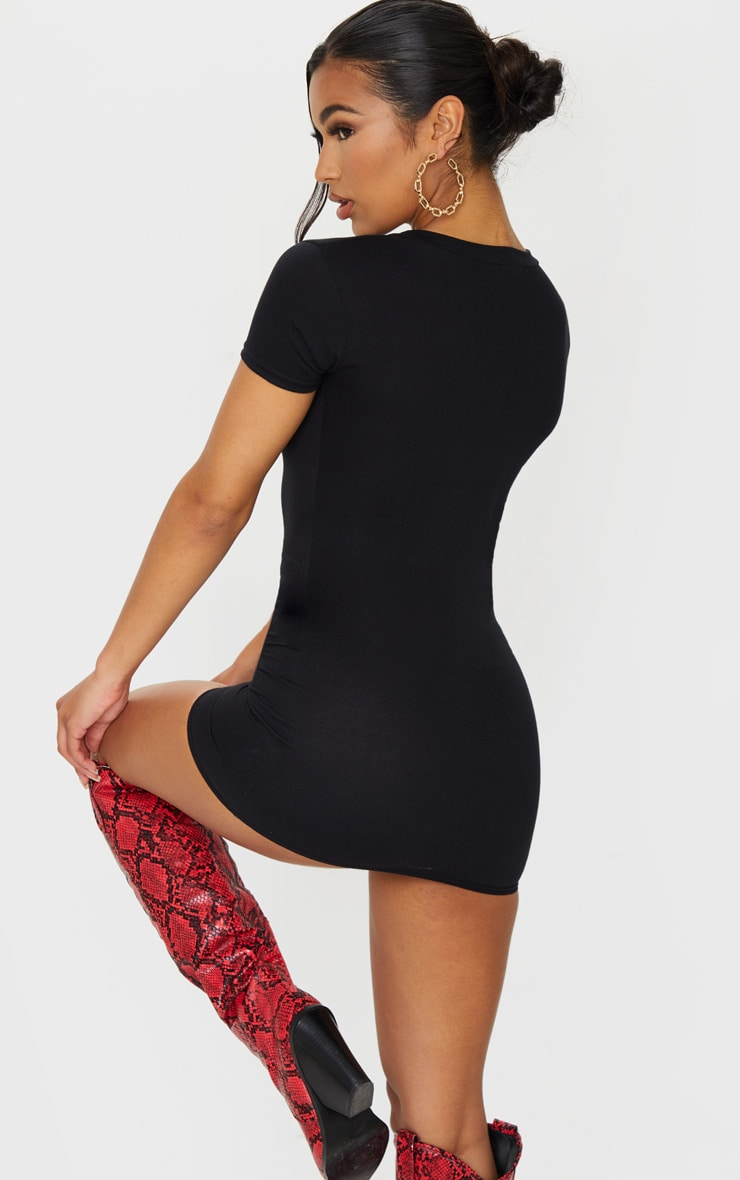 Black Deep Slash V Neck Bodycon Dress 2