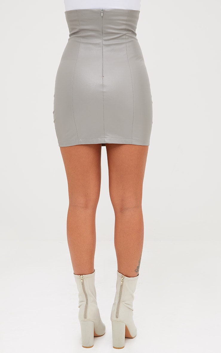 Grey Faux Leather Bustier Skirt 4