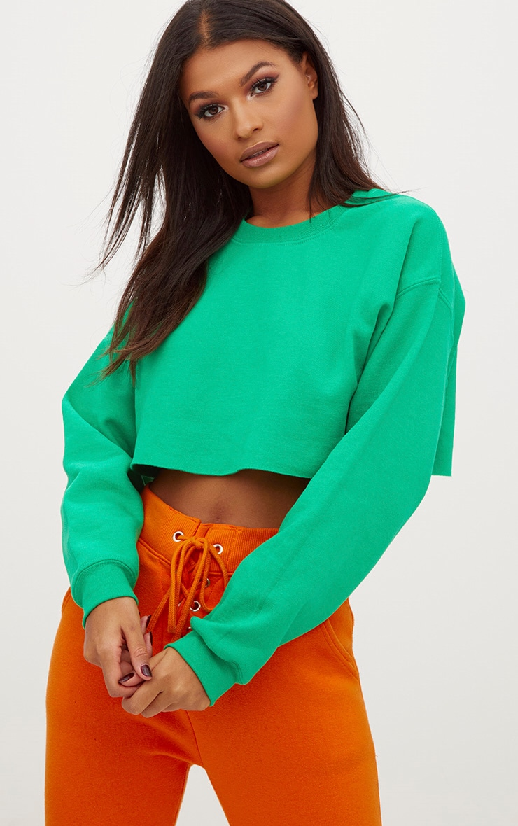 Green Ultimate Cropped Sweater 1