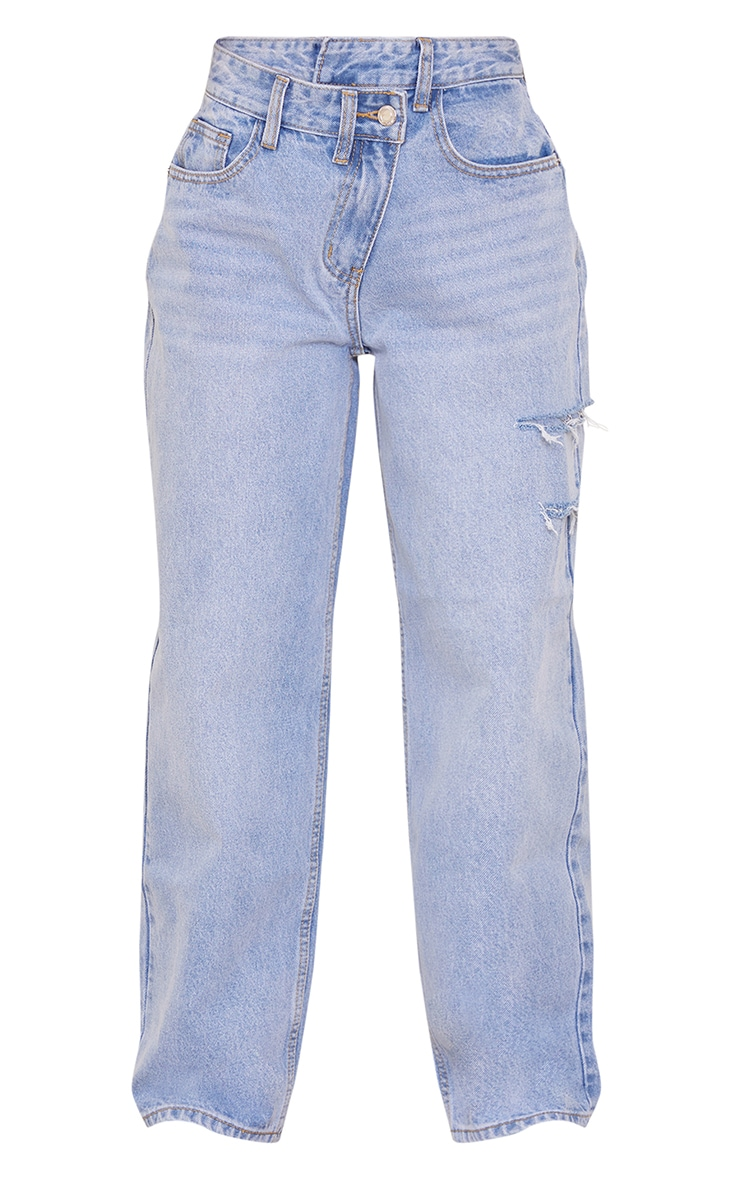 Petite Light Wash Baggy Low Rise Asymmetric Waistband Thigh Split Boyfriend Jeans 5