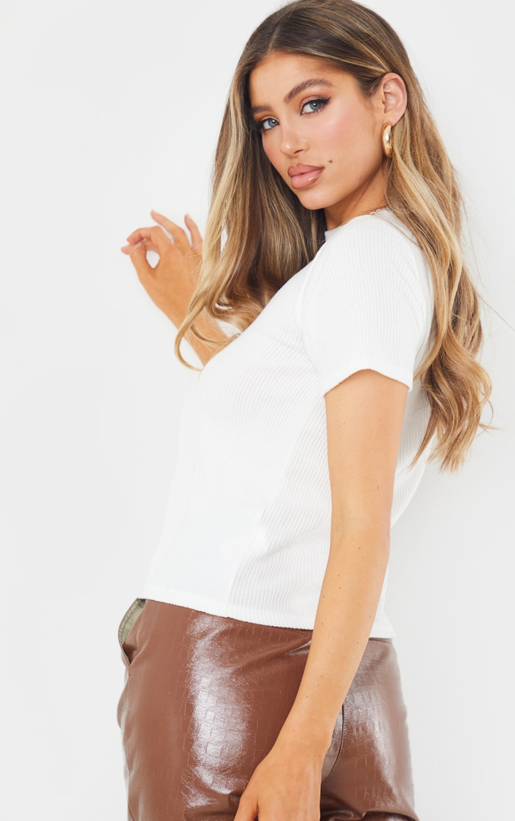 Cream Brushed Rib Short Sleeve Top 2